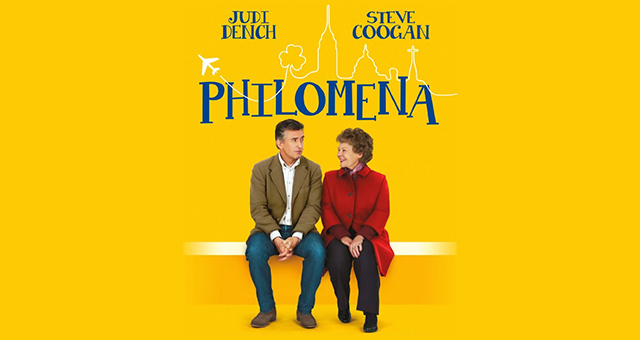 The poster for Philomena, which has Judi Dench and Steve Coogan sitting on a park bench
