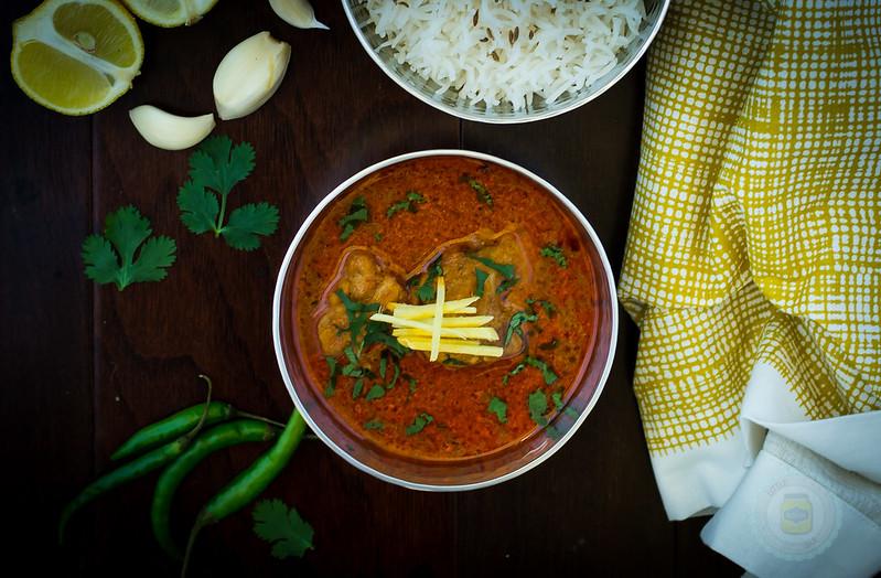 Mum's Chicken Korma Curry Wooden Background Shot Cropped