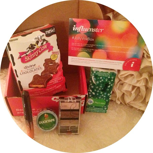 I just received my first influenster #JollyVoxBox today in the mail and wow it was packed with some amazing FREE goodies!! Puffs Tissue pack, NYC HD Color Trio Eye shadow, Rimmel Show Off lip lacquer, Skinny Cow candy and Ducklings mini roll. I can't wait