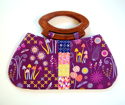 Enchanted garden purple purse with wood handles