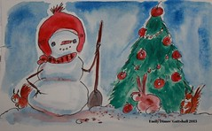Snowman watercolor by Emilyannamarie