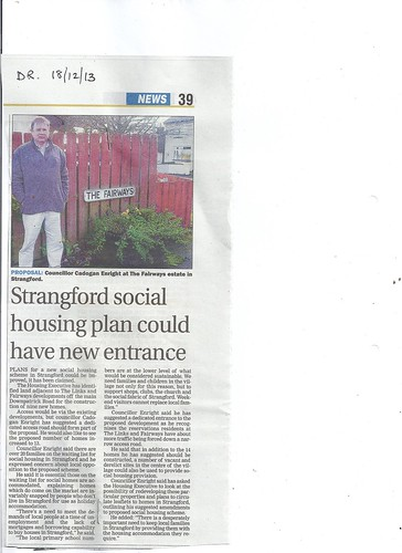 dec 18 2013 Cadogan campaigns for new social housing for young families in Strangford Village