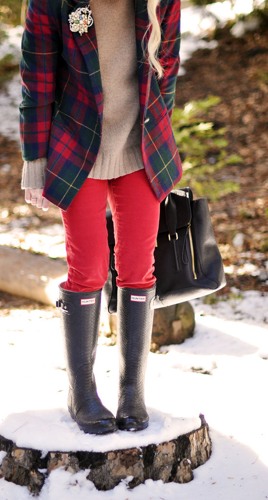 1-plaid jacket-red pants-hunter boots-