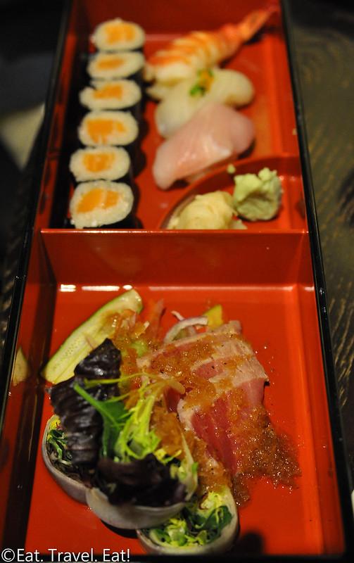 Nobu (Caesars Palace, Nobu Hotel)- Las Vegas, NV: Nobu Bento Box: Sashimi Salad, Sushi