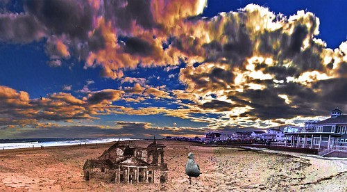 sand castle hampton beach new hampshire usa sea gull colorful clouds holmes ocean atlantic ruins windblown for birds photoshop flickr google bing daum yahoo image stumbleupon facebook getty national geographic montage manipulation creativity recolored reworked digital art landscape wide horizon photo pin interesting creative color surreal avant guarde pinterest