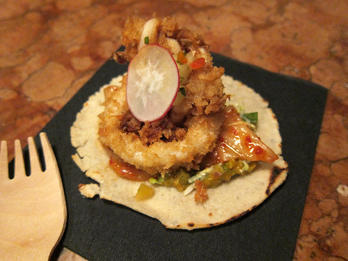 Buttermilk fried squid - Pickled pineapple relish, kimchi guac, herb salad