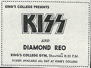 09/14/75 Kiss/ Diamond Reo @ Wilkes-Barre, PA