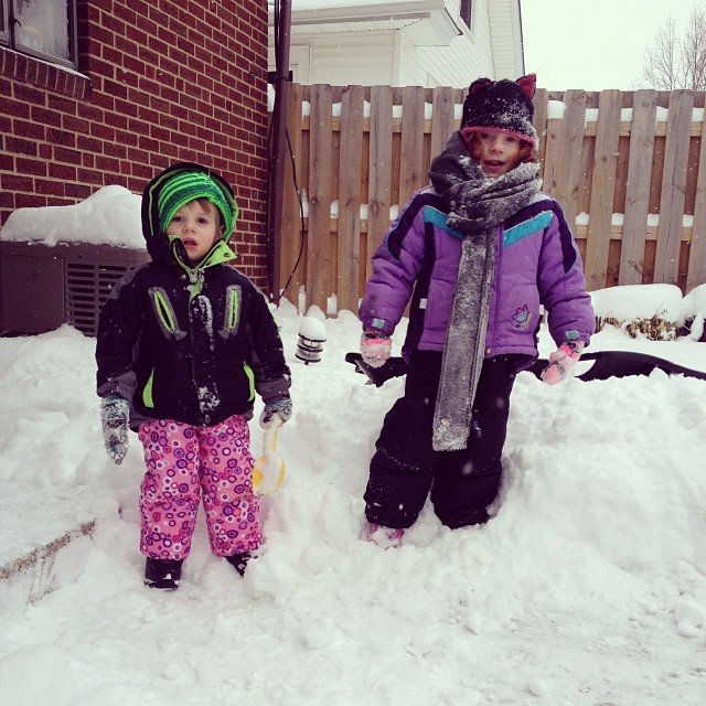 Fun in the snow!  #cleveland #snow #handknit #stevensonpartyof5