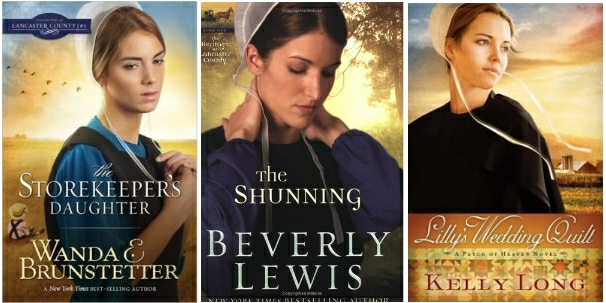 Three covers of Amish fiction which all feature forlorn, pensive looking young amish women with a golden field in the background.