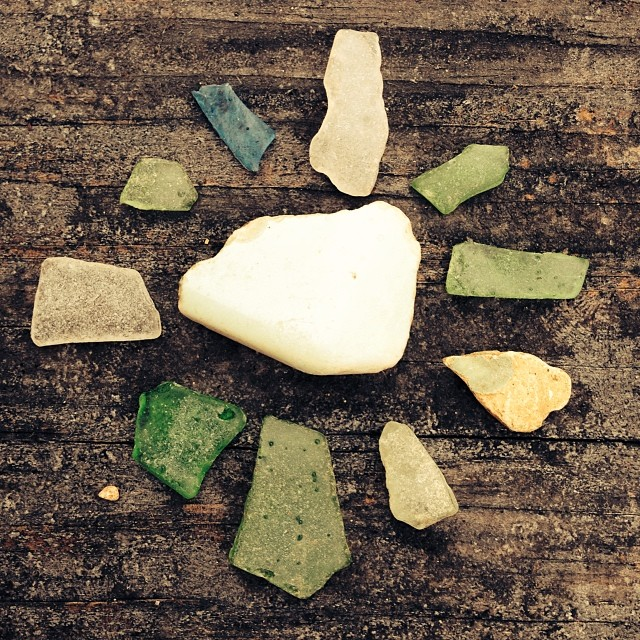 Polished glass and pottery bits found down by the water.