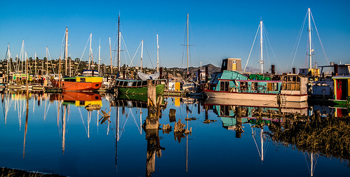 Houseboats reflected in the water - Sausalito, CA by joeeisner
