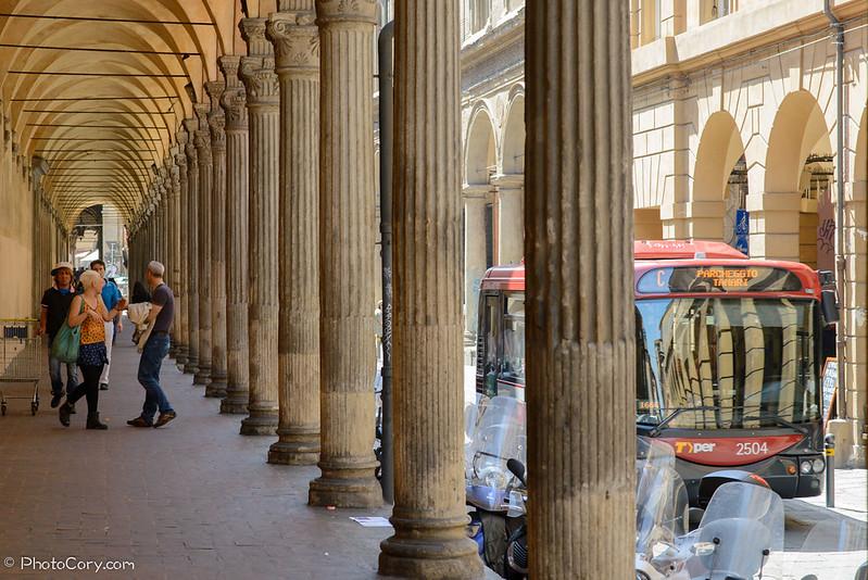 sidewalk columns in Bologna