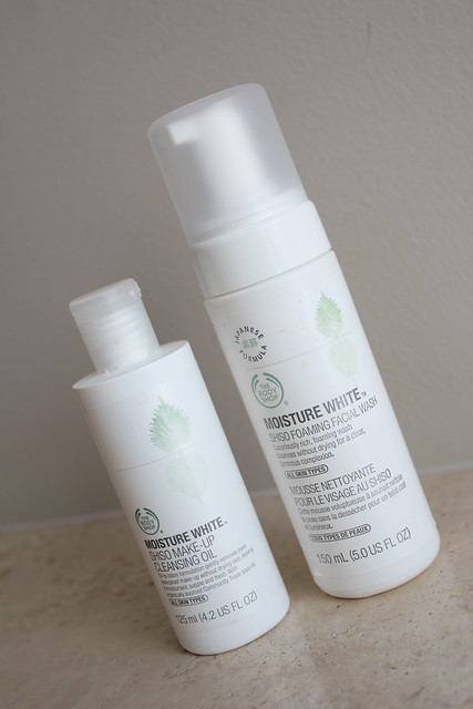 the body shop moisture white cleansing oil and foaming wash review