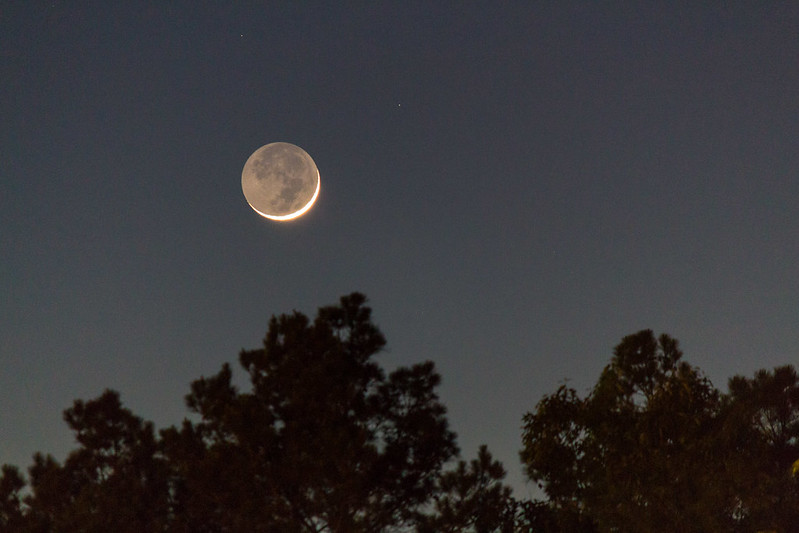 Young Crescent Moon with Earthshine