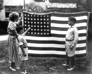 Mrs. Jenkins with two boys and a flag - Jacksonville
