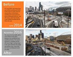 Before and After: Northbound SR 99 tunnel entrance and off-ramp bridge