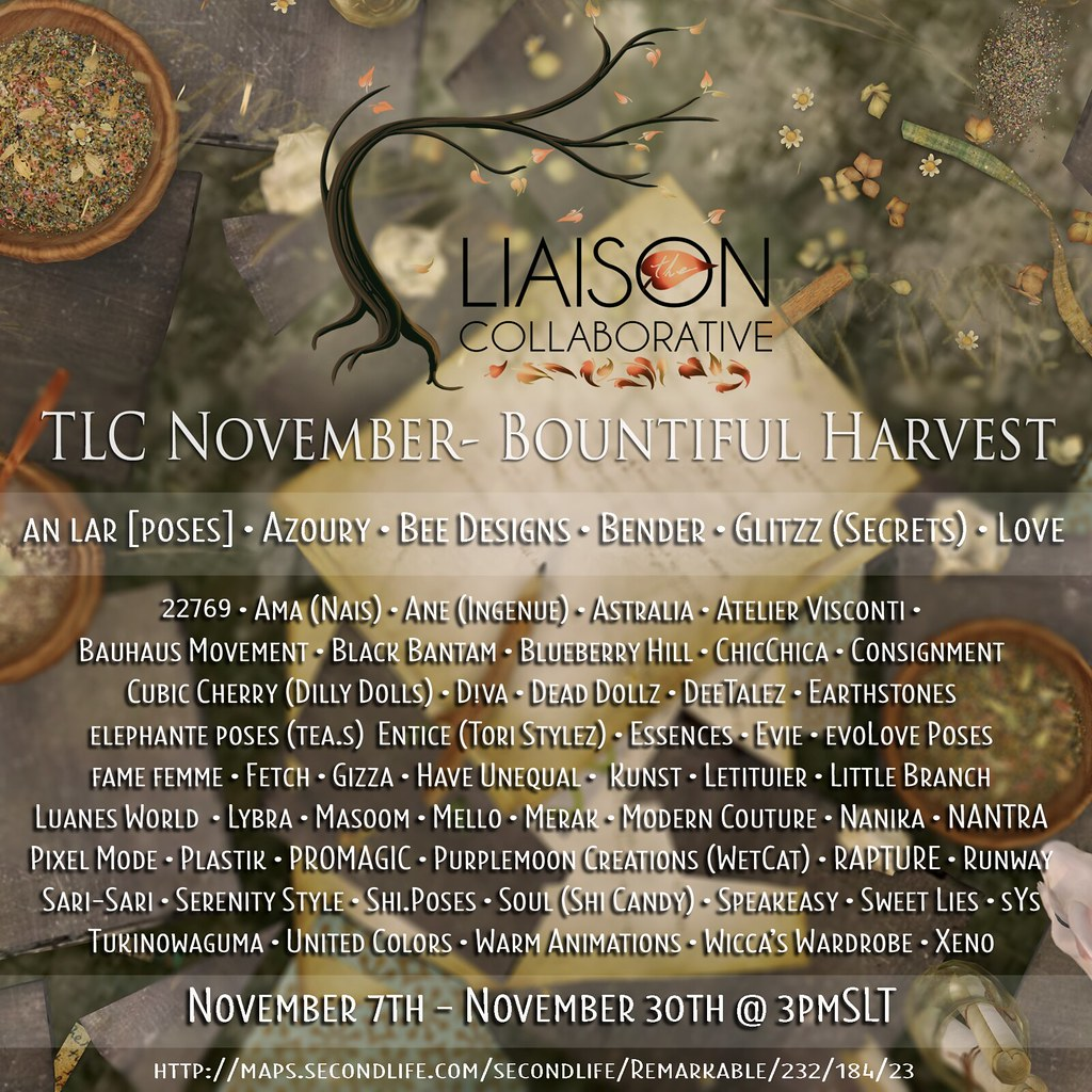 The Liaison Collaborative's  Bountiful Harvest for November - SecondLifeHub.com