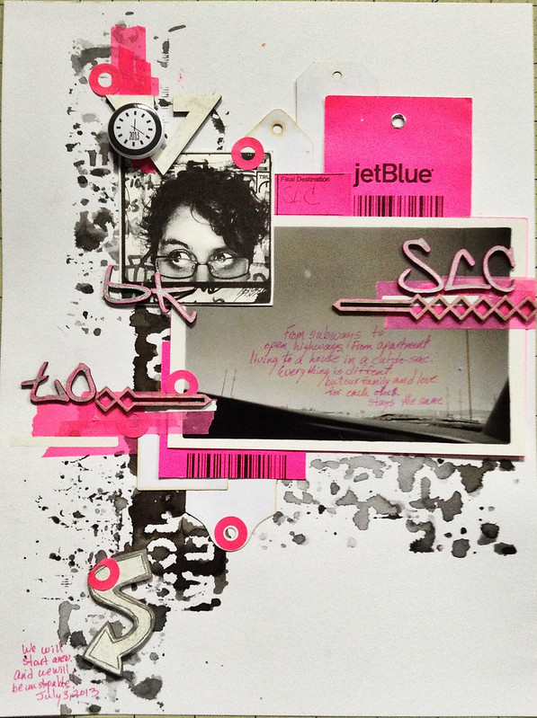 neon scrapbook page