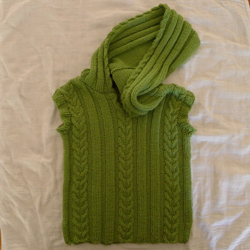 Cable Vest with Hood Austinmer International Knitting Circle