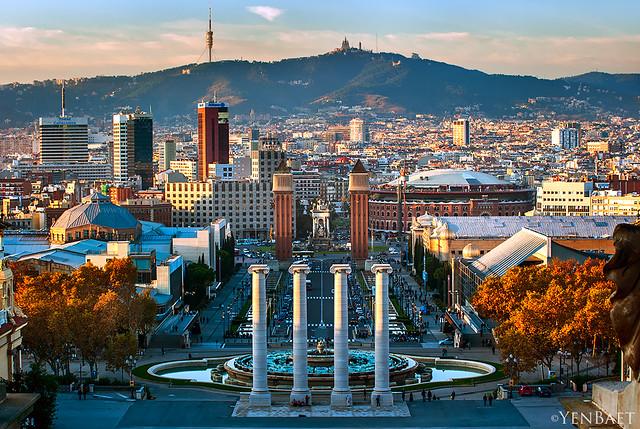 Barcelona - View from Montjuic Hill towards Plaça d'Espanya