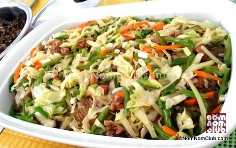Traditional Pansit with lots of veggies on top!