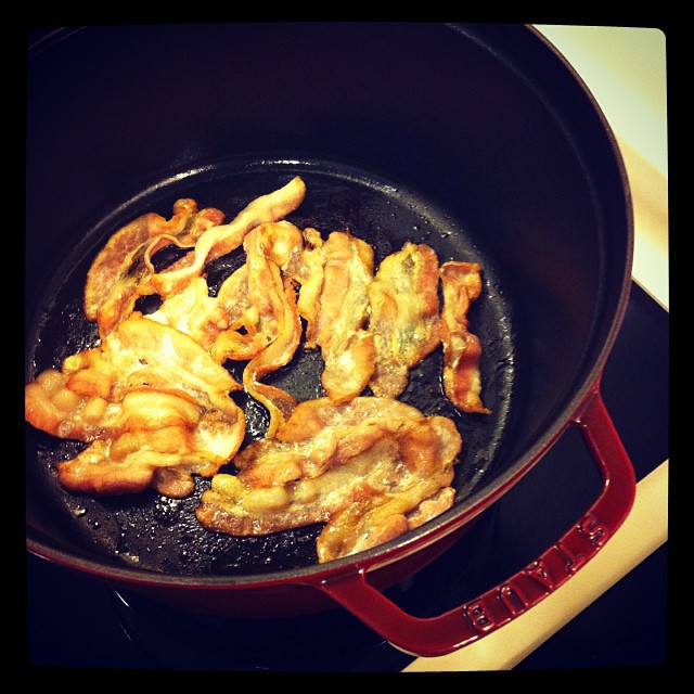 crisping bacon in my staub