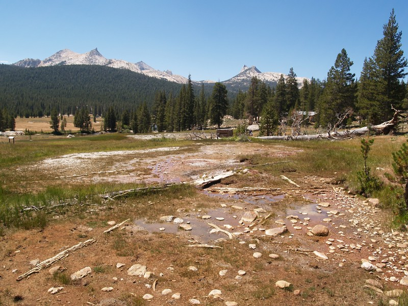 Soda Springs, from the PCT, looking towards Parsons Lodge, Unicorn Peak and Cathedral Peak in the background
