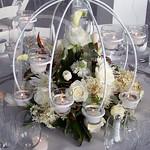 Globe candelabara centerpiece all white flowers