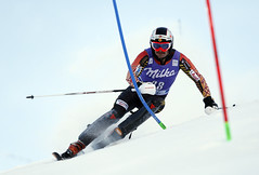 Phil Brown in action during the slalom in Levi, Finland.