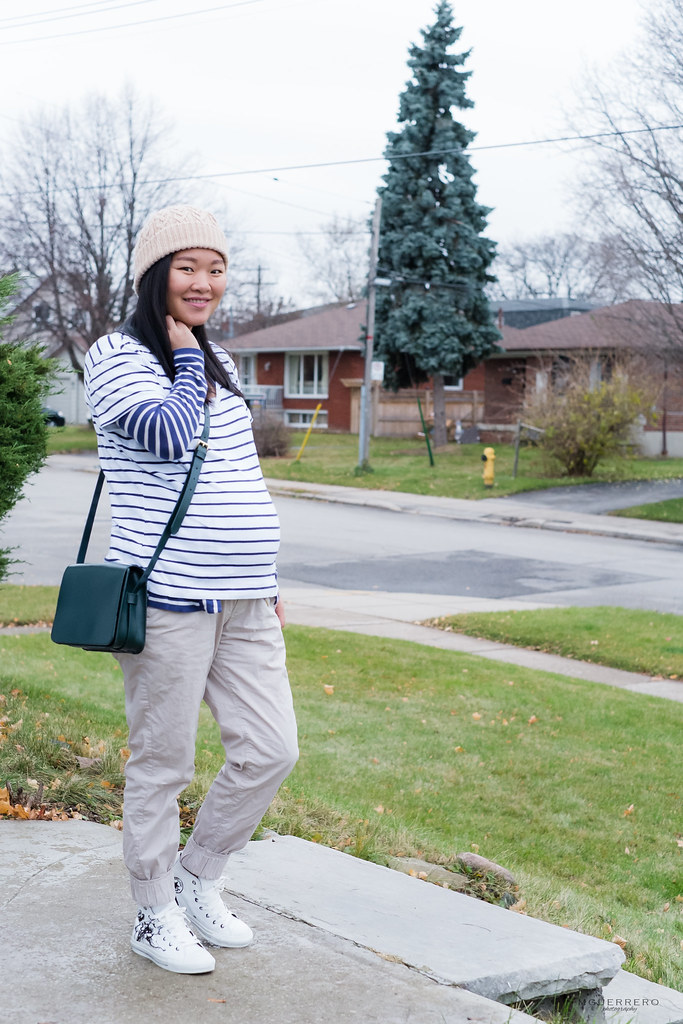 double stripes, green crossbody, maternity khakis, floral converse