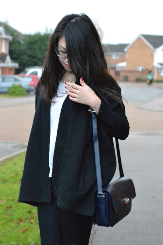 Daisybutter - UK Style and Fashion Blog: what i wore, AW13, british winter style, oversized blazer coat, zara tartan scarf, cut out shoes, mulberry bayswater shoulder in midnight blue, winter monochrome