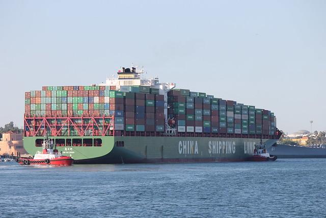 Xin Ou Zhou China Shipping Line Container Ship At The