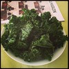 Found the optimal temp for my kale chips: convention oven at 100C for 80mins. Takes longer but leaves ate nicely green #kale #kalechips