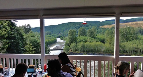 View of the North Fork Toutle River from the back patio at Patty's Place.