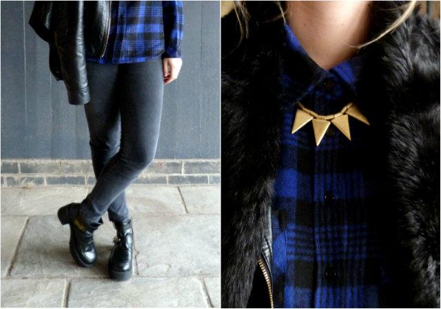 Blue tartan plaid shirt and black faux fur stole | outfit post details