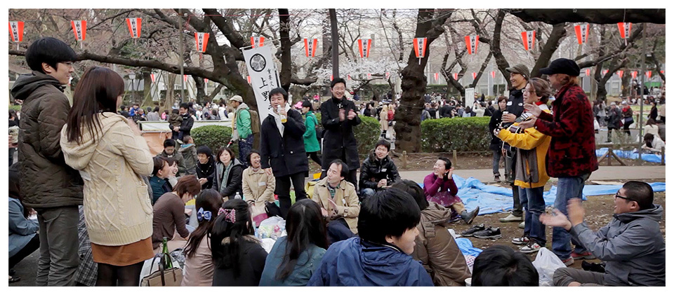 Japanese Friends Partying during Hanami in Ueno Park, Tokyo - Japan