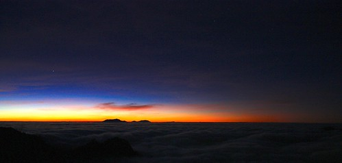 The stars above the clouds before sunrise