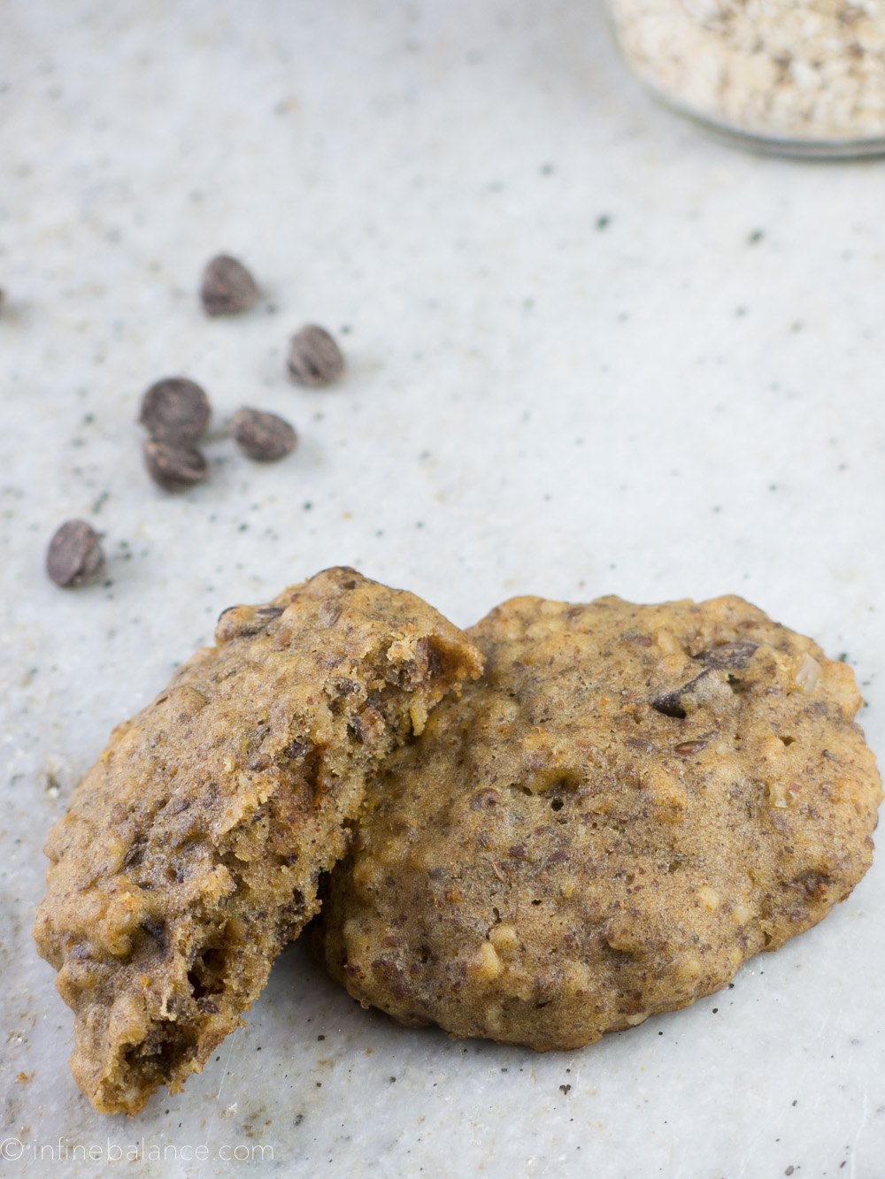 Chocolate Chip Flaxseed Cookies with chocolate chips
