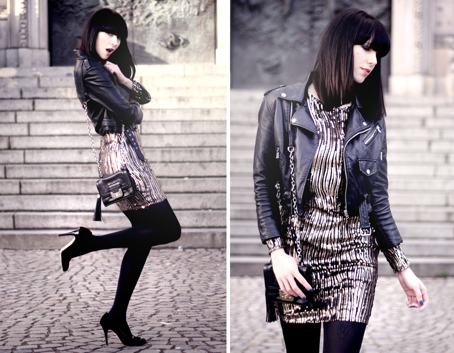 Little Mistress sequin dress Nasty Gal leather jacket Charlotte Olympia kitty heels DVF bag CATS & DOGS fashion blog Berlin 6