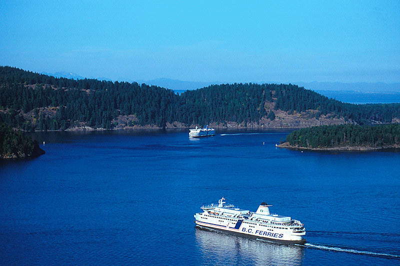 BC Ferries in Active Pass, between Mayne Island and Galiano Island, Gulf Islands, Georgia Strait, British Columbia, Canada