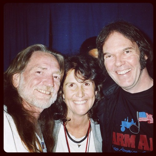 #TBT Farm Aid executive director Carolyn Mugar with Willie Nelson and Neil Young at Farm Aid V in 1992 in Texas.