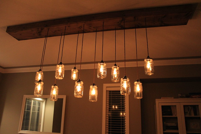 First Time Fancy DIY Dining Room Light Fixture