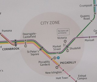 Metrolink map for City Centre zone