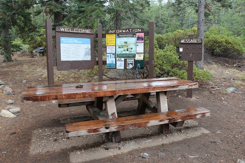 South Fork Trail Trailhead Information Kiosk and Picnic Table in the Rain