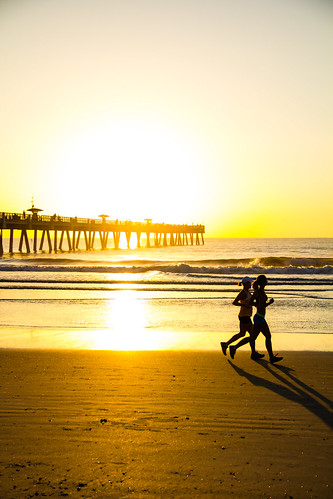 ocean beach sunrise pier florida running run jacksonville jogging jax jog