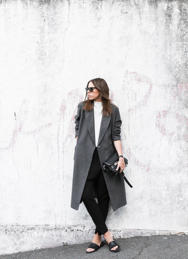 modern legacy fashion blog street style ASOS sale Oversized Grey Masculine coat Common Projects leather pool slide sandals Camilla and Marc Assent high neck top ankle zip Domain pants classic masculine (1 of 3)