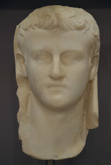 Caligula, the head, covered with a toga, was inserted in a statue, found in Gortyn, Heraklion Archaeological Museum
