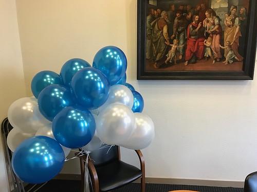 Heliumballonnen Metallic Wit en Blauw Stadhuis Schoonhoven