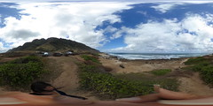 At the Trailhead of the Kaena Point Trail at Mokuleia on the North Shore of Oahu, Hawaii  - A 360 degree Equirectangular VR