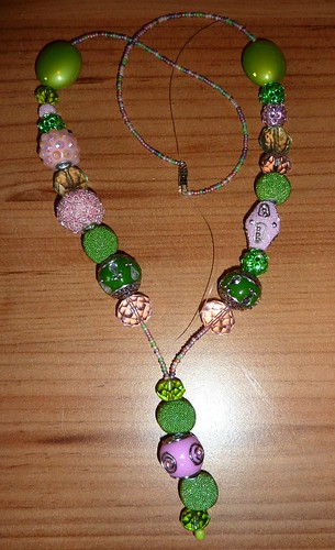 Pink & Green India Beaded Necklace by Bebopgirl1969